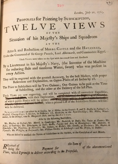 Advertisement about the intended publication of a series of engravings of the Battle of Havana
