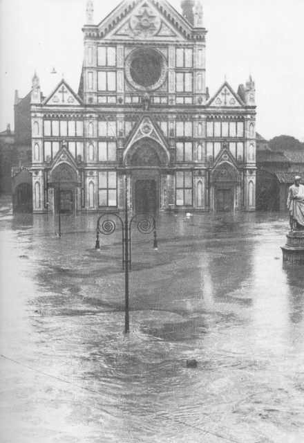 Flood waters in front of the Church of Santa Croce in Florence