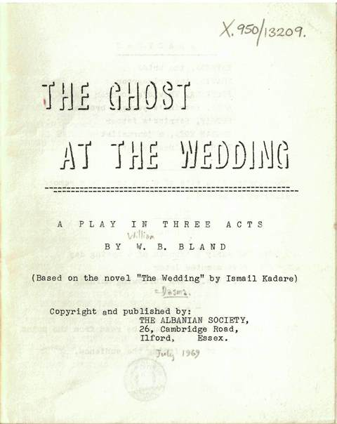 Typescript cover of the play 'The Ghost at the Wedding'