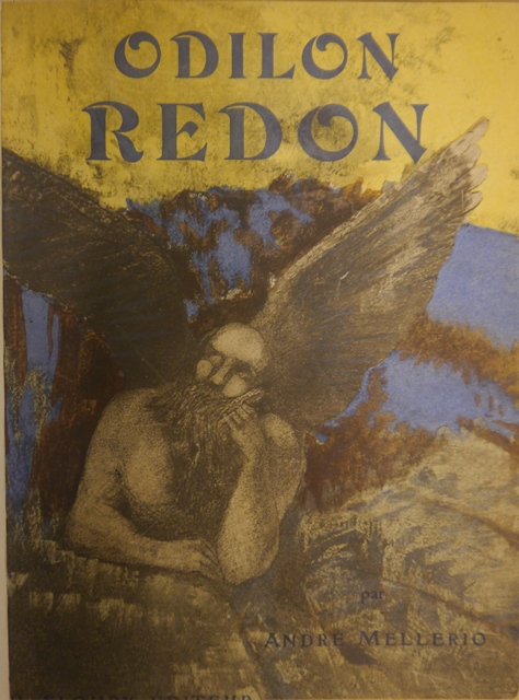 Cover of a book about Redon with a coloured image of a winged male figure