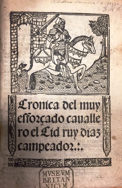Title-page of a 1541 version of the Cid poem with a woodcut of an armed knight on horseback