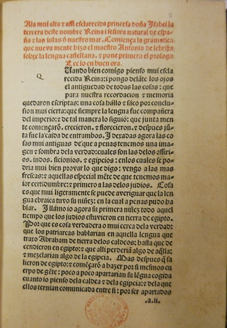 Nebrija's printed dedication to Queen Isabella in his 1492 'Gramatica Castellana'