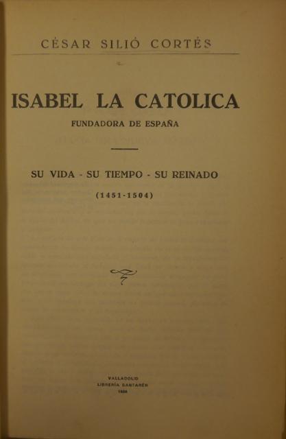 Title-page of 'Isabel la Católica, fundadora de España'