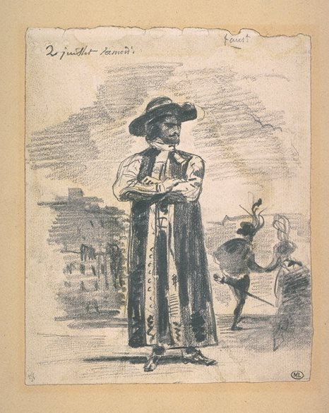 Sketch of Edmund Kean as Shylock, with the elopement of his daughter in the background