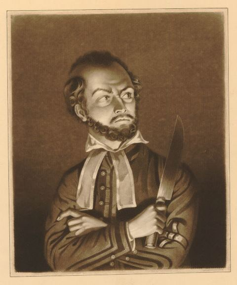 Kean in the character of Shylock, holding a large knife
