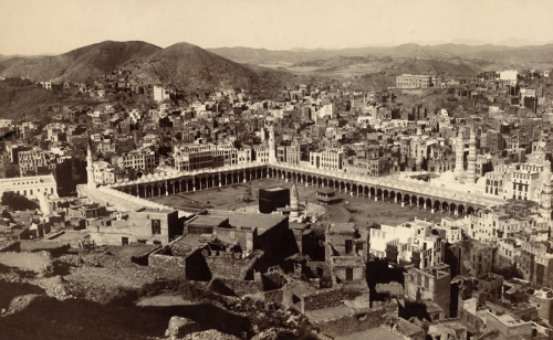 A bird's eye view of Mecca and surrounding hillsides,