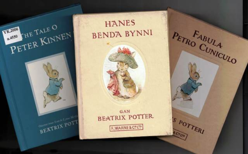 Covers of Beatrix Potter books in Scots, Welsh and Latin
