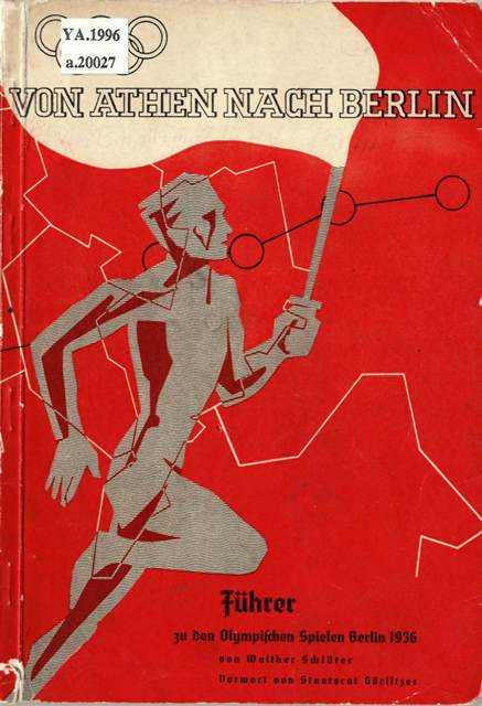 Cover of 'Von Athen nach Berlin' with a stylised image of a runner carrying a torch