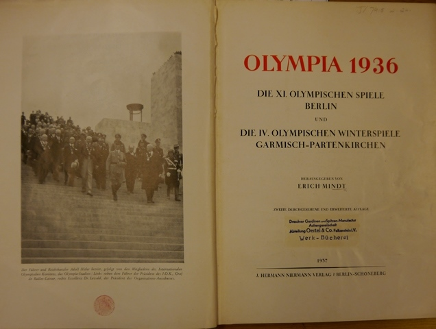 Title-page of 'Olympia 1936' with frontispiece photograph of Hitler and officials descending the steps of the Olympic stadium in Berlin