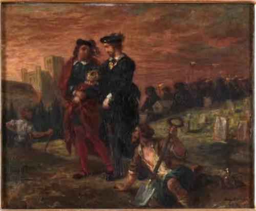 Painting of Hamlet holding Yorick's skull