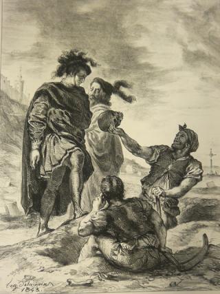 Lithograph of Hamlet holding Yorick's skull