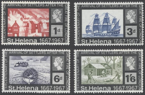 St Helena stamps 1967 - Tercentenary of the arrival of settlers after the Fire of London