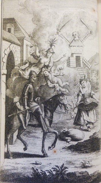 Don Quixote riding out of his house, accompanied by allegorical figures of folly and love. In the background is a windmill with the head of a giant