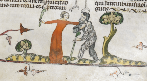 A marginal illustration of a wodewose rebuffing a woman, from the Smithfield Decretals.
