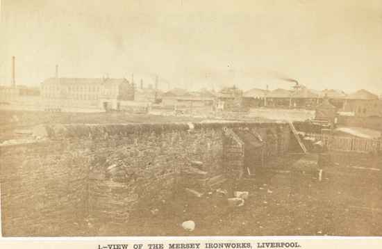 Exterior of the Mersey Steel and Iron Works in Liverpool 1863