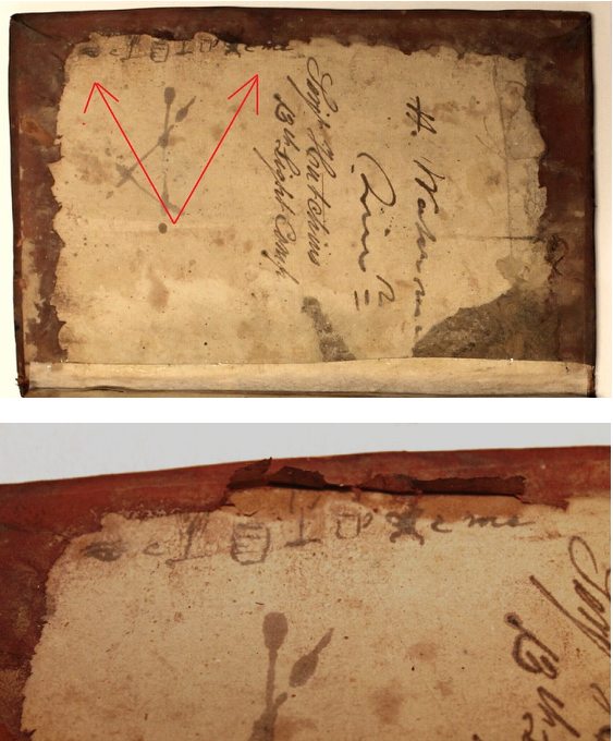 Two images which show arrows pointing to the scribbles and the leather lifting away to reveal more.