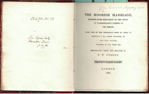 Title-page of 'The Moorish Marriage' with a handwritten note describing this as the fourth of the ten copies printed