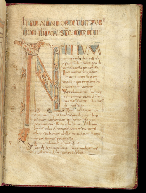 A page from a 9th-century manuscript, showing a decorated initial I.