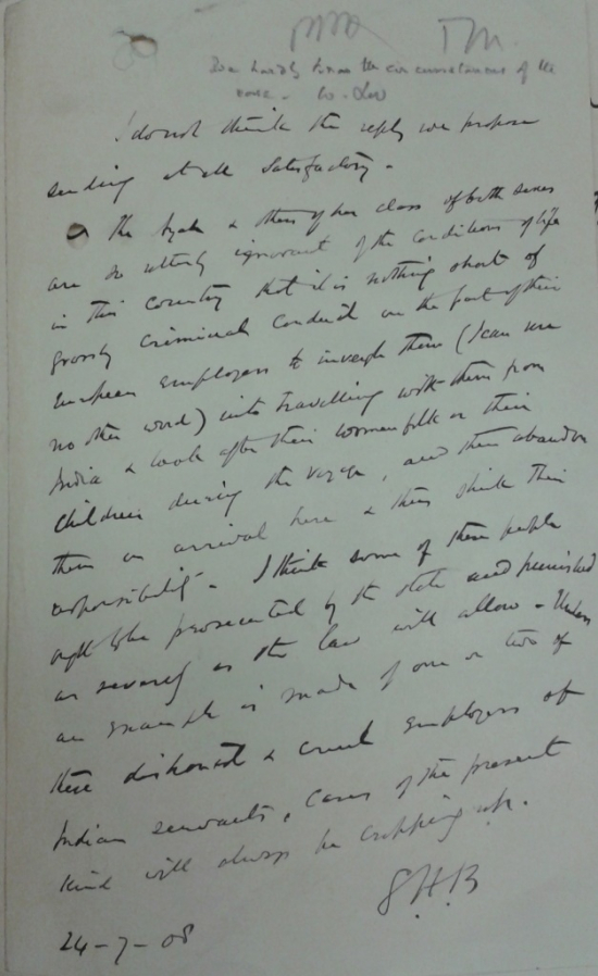 Syed Hussain Bilgrami's dissenting minute 24 July 1908