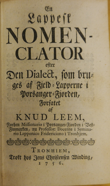Title-page of 'En lappesk Nomenclator'