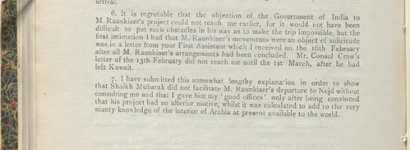 Part of Captain Shakespear's report on Barclay Raunkiær, 9 March 1912.