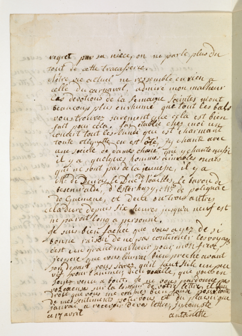 Letter in the handwriting of Marie Antoinette