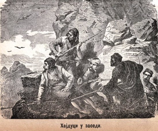 A group of outlaws in a mountain landscape