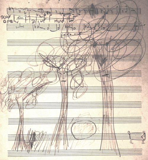 Doodle, possibly by Nat Gonella, on the score of The Three Trees