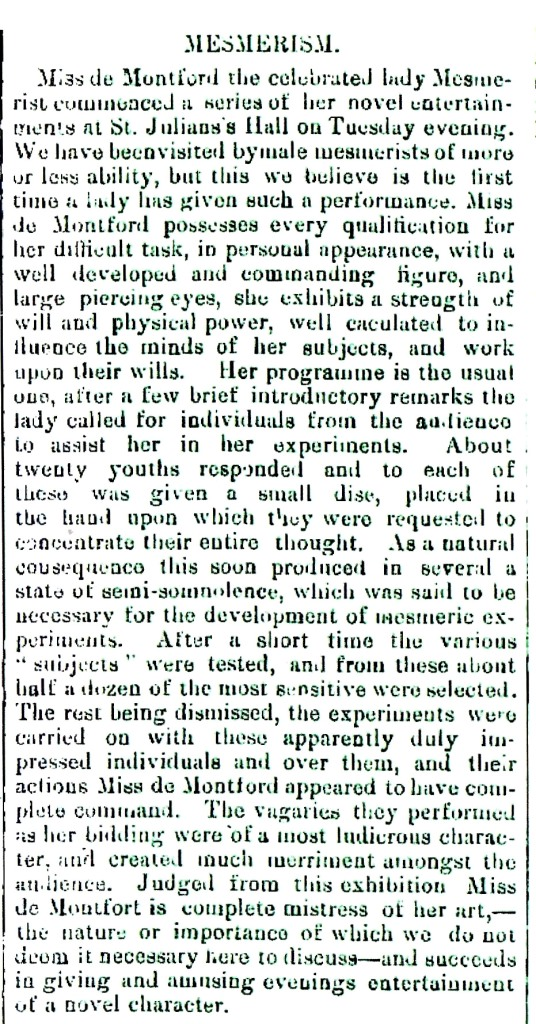 Description of Annie de Montford's performance in a local newspaper