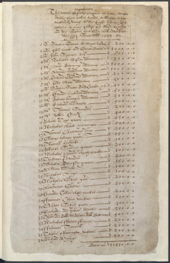 List of the first subscribers to the East India Company drawn up in September 1599