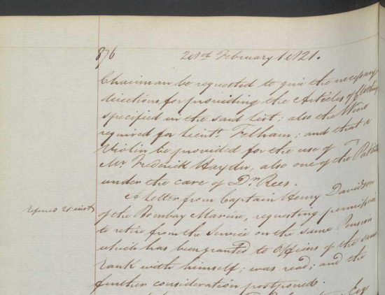 Notes on East India Company patients at an asylum