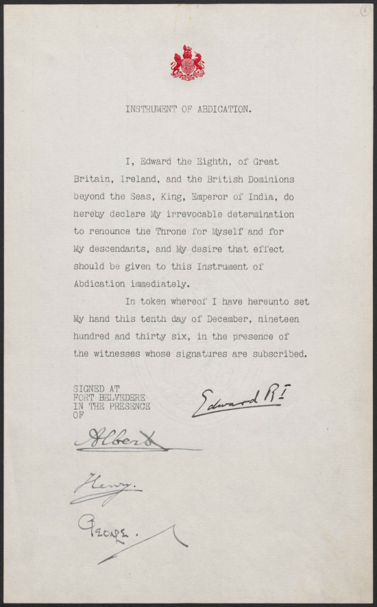 Instrument of Abdication signed by Edward VIII at Fort Belvedere 10 December 1936