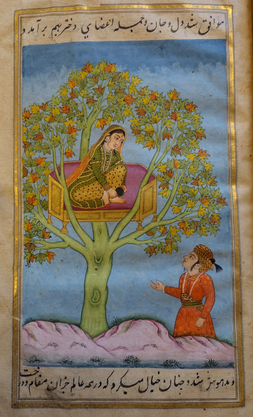 The Princess of the West falls in love with the Prince of the East, who finds his way to the foot of the isolated tree where she is held captive by the Phoenix. The Princess here is dressed in the Hindustani peshvaz and dupattah, while the Prince sports a turban in a distinctly Safavid style with the ends of the qamarband always tucked in. Qiṣṣah-′i qaz̤āʾ va qadr, British Library, IO Islamic 4806, f. 19r.