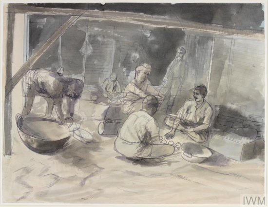 Edward Bawden, A Hindoo Kitchen: RIASC 8th, 10th and 12th Indian Mule Coys, Zghorta, Syria © IWM (Art.IWM ART LD 2220)
