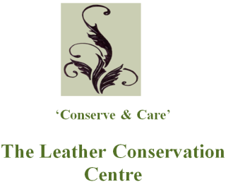 The logo for The Leather Conservation Centre. The image is of a stylised plant in black, on a green background square. On a wider white square, underneath and below the image, are the words 'Conserve & Care' and underneath that in a bolder font, is 'The Leather Conservation Centre' in green.