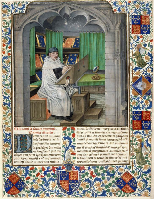 A highly decorated page from a 15th-century manuscript, showing a portrait of Vincent of Beauvais sitting and writing at a desk.