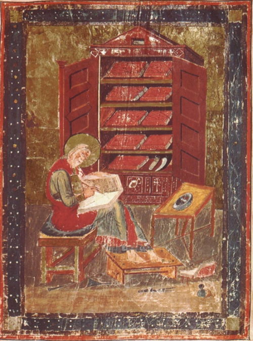 A detail from Codex Amiatinus, showing a portrait of Ezra writing in his study.