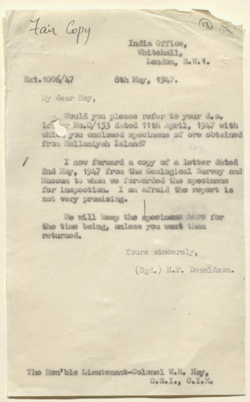 Letter from the India Office to the Political Resident in the Persian Gulf