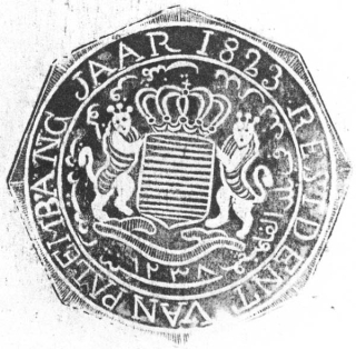 Resident Gupernament Nederland fî balad Palembang sanat 1238 // RESIDENT VAN PALEMBANG JAAR 1823, 'Resident of the Dutch Government in the state of Palembang, the year 1238 // Resident of Palembang, the year 1823' (#677). Seal album from Palembang ('Stempels uit de Residentie Palembang'). Leiden University Library, Cod.Or.6663.b