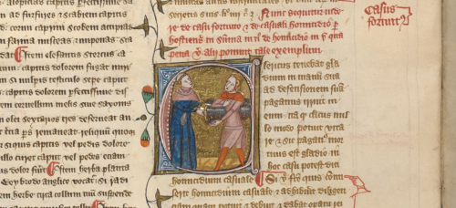 A detail from a manuscript of the Omne Bonum, showing an illustration of a monk thrusting a sword through a young man.