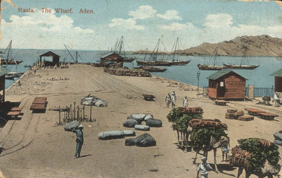 Postcard showing the wharf at Ma'alla, Aden