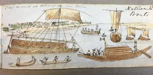 'Native boats', anonymous British artist, c. 1849. British Library, WD4593, f. 25.