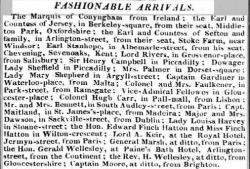 Newspaper report  - Wellesley arrives in London 1832