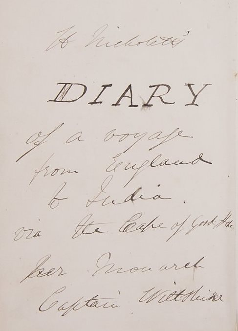 Opening page of Henry Nicholetts' diary