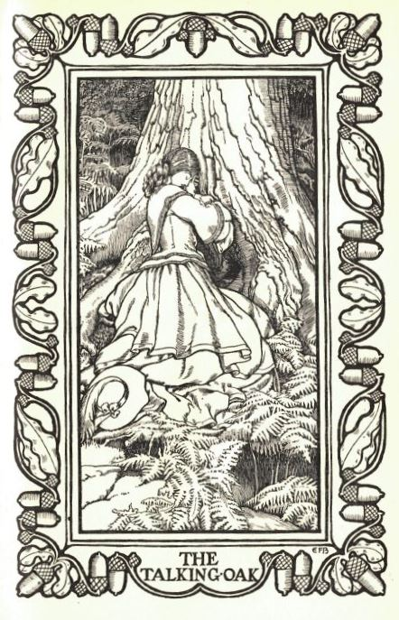 Woman talking to an oak