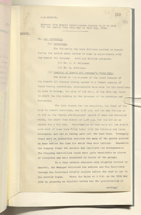 Extract from Kuwait Intelligence Summary No. 9 of 1936: the opening of the Kuwait Oil Company's first well
