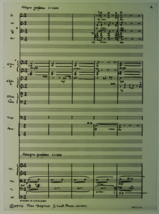 First page of music in the fair copy of Musgrave's variation on Happy Birthday