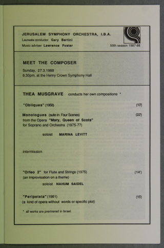 A page, in English, from a programme for a concert of Musgrave orchestral works in the Henry Crown Symphony Hall, Jerusalem on 27 March 1988