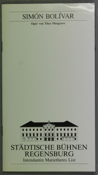 Front cover of programme for the first European production of Thea Musgrave's opera Simón Bolívar