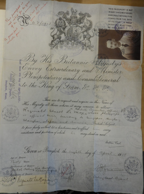 Le May's diplomatic travel document issued in Bangkok in 1915. British Library, MSS Eur C275/4